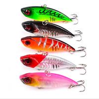 5pcs Fishing Lure VIB Crankbaits Rattlin Bait Bass Perch Baits with Treble Hooks
