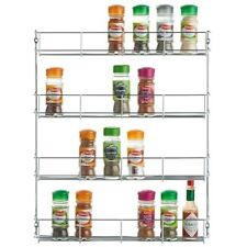 Stainless Steel 4 Tier Spice Herb Jar Storage Kitchen Mounted Cupboard Door Rack