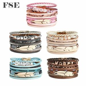Women Leather Wrap Bracelet Magnet Clasp Feather Charms Bracelet Multi Color 020