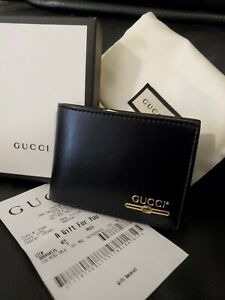 NWB Gucci Mens Large Wallet Gold Plutone Calf Black Leather AUTHENTIC