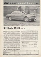 Iso Rivolta IR-340 1964-65 UK Market Road Test Brochure Autocar