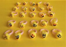 Emoji Smiley Face Rings for Party Favors toys Loot Bags and Gifts Lot of 20