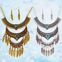 EG_ Women's Vintage Ethnic Leaf Tassel Pendant Necklace Earrings Jewelry Set Ple