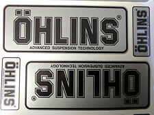4x Ohlins Silver & Black Decals Stickers Suspension Bike Shock, motorcycle STUNT