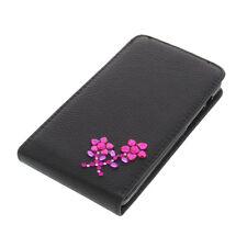 Strass Tasche für Acer Liquid E700 FlipStyle Handytasche Blume Flip Case Schwarz