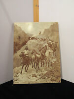 """Vintage Frederic Remington Wood Etching """"Geronimo and His Band"""""""