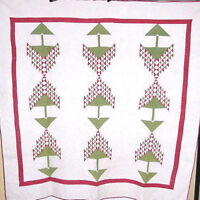 AMAZING ANTIQUE  RED AND GREEN TREE OF LIFE ANTIQUE QUILT WELL QUILTED  1880