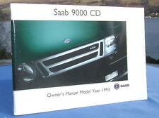 New Rare Original Saab 9000 Handbook Owners Manual 1993