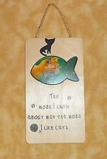 wooden cat picture frame more I know about men more I like cats hang or stand