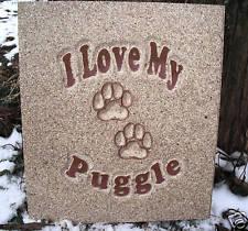 Pug puggle plaque mold decorative stepping stone concrete plaster mould