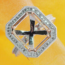 11x13mm Emerald Cut Solid 14k White Rose Gold Natural Diamond Semi Mount Ring
