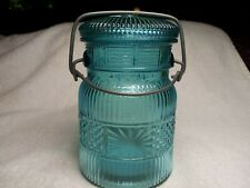 Avon Pint Size Blue Glass Canister w/Wire Bale Lid