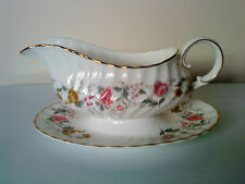 """Royal Doulton china """" Rosell """" H4976 pattern GRAVY BOAT with attached UNDERPLATE"""