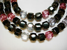 25 Black, Pink and Crystal Mix Cathedral Czech Glass 6mm beads