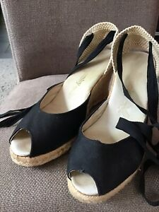 Womens Russell And Bromley Black Canvas Wedge Shoes Size 6/39