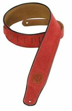 "Levy's MSS3-RED 2.5"" Suede Guitar Strap piping - Red"
