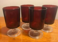 """Ruby Red Glasses (4) Arcoroc France Juice Glasses 4""""H x2.5""""W"""