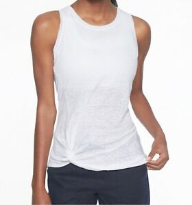 Athleta Knot Zephyr Tank Top in Bright White 100% Linen Size X-Small