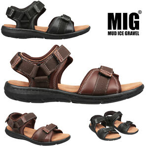Mens Leather Hiking Sport & Leisure Sandals Size 6 to 12 UK BLACK or BROWN