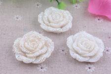 3pcs White AB 42mm  Flat Back Chunky Rhinestone Rose Flower Cabochons C10