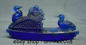 """6"""" Rare Chinese Blue Coloured Glaze Carved red-crowned crane Birds Boat Statue"""