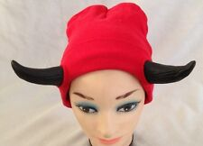 Red Devil Costume Hat With Horns - Stretch Cap - One Size Fits Most