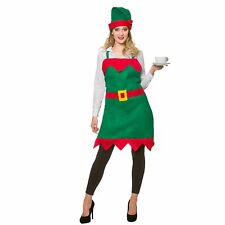 Elf Apron & Hat Christmas Helper Adults Womens Fancy Dress Costume Accessory