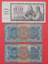 More details for czechoslovakia ( 1921 & 1960 ) 2x5 korun serie 5 & 6  & 10 korun rare bank notes