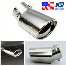 Silver Universal Round Stainless Steel Car Exhaust Tail Muffler Tip Pipe From US