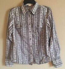 Michael Kors Brown Paisley Snap Up Western Shirt Fitted Size 10 100% Cotton