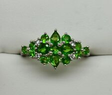 Natural Chrome Diopside Cluster Ring 925 Sterling Silver - NEW 397