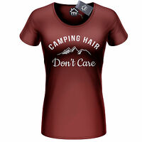 Camping Hair Dont Care Womens Tshirt Tent Festival Top Ladies Funny Top 406