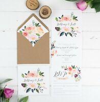 Rustic Wedding Invitation - Natural Romantic Blooms