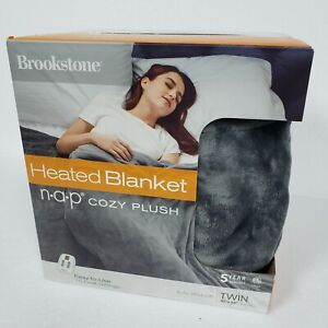 """Brookstone N-a-p Plush Heated Twin Blanket in Grey, 62"""" x 84"""""""