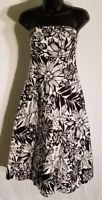 GAP Size 10 Strapless Black & White Floral Pattern Cotton Linen Dress H12