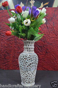 "10"" Marble Filigree Flower Vase Precious Soap Stone Inlay Art Bedroom Deco H702"