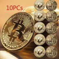 10X Gold Bitcoin Commemorative Collectors Coin Bit Coin is Gold Plated Coin