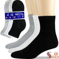 3-12 Pairs Health Circulatory Quarter Ankle Low Cut Cotton Diabetic Socks  9-15