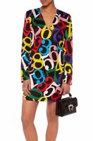 LOVE MOSCHINO BLACK WITH BRIGHT NUMBER PRINT SHIFT DRESS SIZE UK 10 RETAIL £275