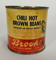 Vintage tin can paper label Brooks Chile Hot Brown Beans Packed in Chili Gravy