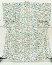 Pretty Vintage Japanese Ladies' Ivory 'Blue/Pink Flowers' Komon/Kimono/Robe S/M
