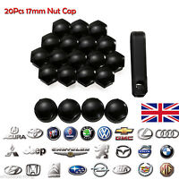 Black 20x Audi Alloy Wheel Nut Caps Bolt Covers with Removal Tools 17mm MATTE UK