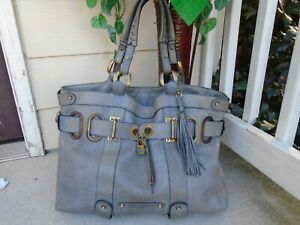 Barbara Bui gray genuine leather large heavy leather shoulder bag