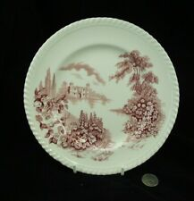 "PINK RED  CASTLE ON THE LAKE   JOHNSONS BROTHERS 8.5"" LUNCH PLATE (S)"
