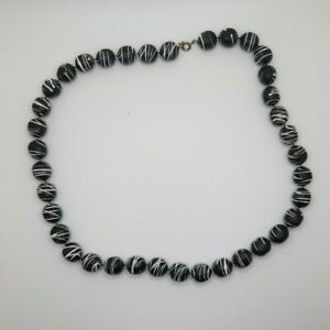"""Vintage Swirled Black and White Plastic/White Glass Seed Bead Necklace 31"""" Long"""