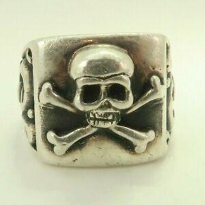 Sterling Silver Skull & Cross Bones Men's Large Ring D2123
