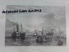GRAVURE 1860 ITALIE LIVOURNE TOSCANE LE PORT