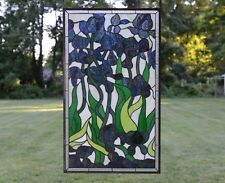 "Handcrafted stained glass window panel Iris Flowers, 20.5"" x 34.5"""