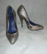 Kurt Geiger-KG Court Shoes Heels Silver Croc Print Women Real Leather Size 4