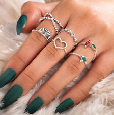 Schmucksets Set 6 Fingerringe Ringe Vintage Zirkonia Herz Geschenke